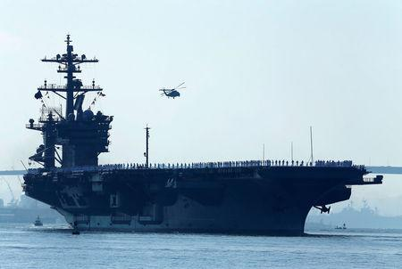 Led aircraft carrier group moving towards the Korean Peninsula near North Korea