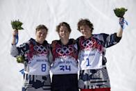 Men's ski slopestyle winner Joss Christensen of the United States, center, poses with his teammates Gus Kenworthy, left, silver, and Nicholas Goepper, bronze, right, during a flower ceremony at the Rosa Khutor Extreme Park, at the 2014 Winter Olympics, Thursday, Feb. 13, 2014, in Krasnaya Polyana, Russia.(AP Photo/Gero Breloer)
