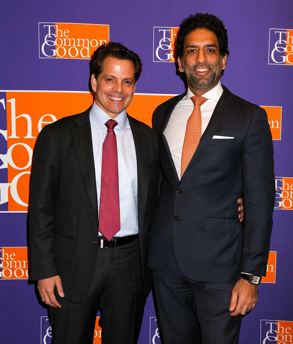 NEW YORK, NY – MAY 12: (L-R)Anthony Scaramucci and Omeed Malik Attend The 2017 Common Good Forum at University Club on May 12, 2017 in New York City. (Photo by Donald Bowers/Getty Images for The Common Good)