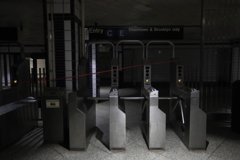 An entrance to the C and E trains at the 50th Street Subway Station is dimly lit during a power outage, Saturday, July 13, 2019, in New York. Authorities were scrambling to restore electricity to Manhattan following a power outage that knocked out Times Square's towering electronic screens and darkened marquees in the theater district and left businesses without electricity, elevators stuck and subway cars stalled. (Photo: Michael Owens/AP)