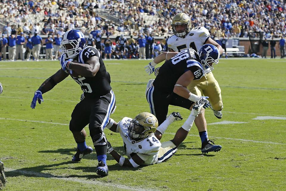 Duke running back Jela Duncan (25) scored twice vs. Georgia Tech on Saturday. (AP Photo/John Bazemore)