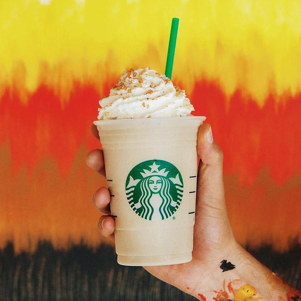 <p>There are so many more fall flavors than just pumpkin. The Maple Pecan Frappuccino combines coffee, milk, and ice, as well as maple, pecan, and browned-butter flavors. Whipped cream and a sugar topping completes this savory drink!</p>