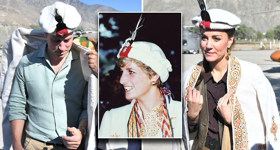 Prince William (left) and Duchess Kate received traditional Chitrali hats, just like Princess Diana in 1991 (inset). [Photo: Getty]