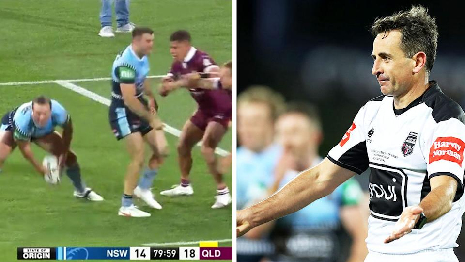 Referee Gerard Sutton (pictured right) giving a penalty and Boyd Cordner (pictured left) passing the ball during the final moments of State of Origin game One.
