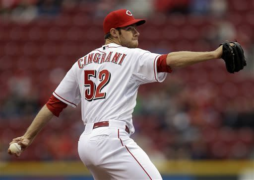 Cincinnati Reds relief pitcher Tony Cingrani throws against the Chicago Cubs in the first inning of a baseball game, Tuesday, April 23, 2013, in Cincinnati. (AP Photo/Al Behrman)