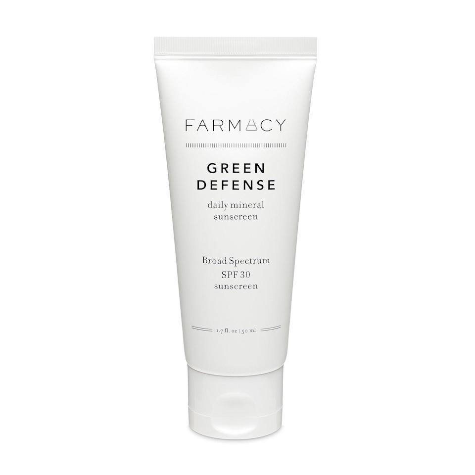 """In addition to providing SPF 30, Farmacy's Green Defense Daily Sunscreen SPF 30 may guard against potentially harmful blue light emissions — i.e. visible light radiating from all of the screens we use on the regular — with the addition of marigold and black chokeberry extracts, which form a weightless shield of protection. On a separate note, this stuff plays spectacularly under makeup and doesn't leave a white cast on <a href=""""https://www.allure.com/gallery/best-sunscreen-dark-skin-tones?mbid=synd_yahoo_rss"""" rel=""""nofollow noopener"""" target=""""_blank"""" data-ylk=""""slk:deep skin tones"""" class=""""link rapid-noclick-resp"""">deep skin tones</a>."""