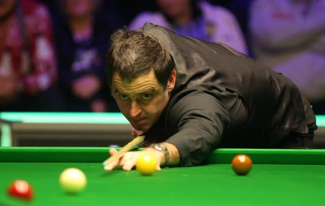 Ronnie O'Sullivan is bidding for his sixth world title in Sheffield (Nigel French/PA)