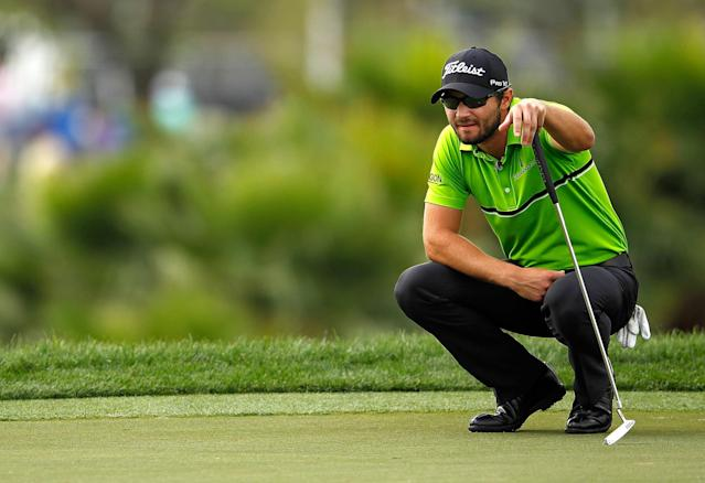 PALM BEACH GARDENS, FL - MARCH 01: Kyle Stanley lines up a putt on the 17th hole during the first round of the Honda Classic at PGA National on March 1, 2012 in Palm Beach Gardens, Florida. (Photo by Mike Ehrmann/Getty Images)