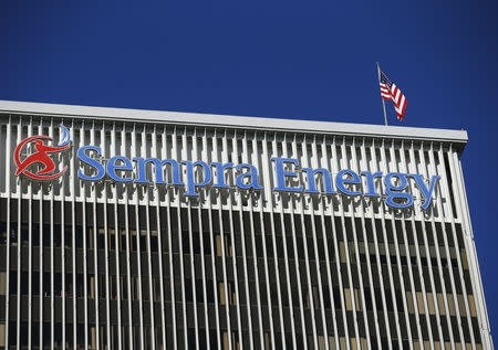 The Sempra Energy logo is shown on the side of a building in San Diego, California September 24, 2013.  REUTERS/Mike Blake/Files