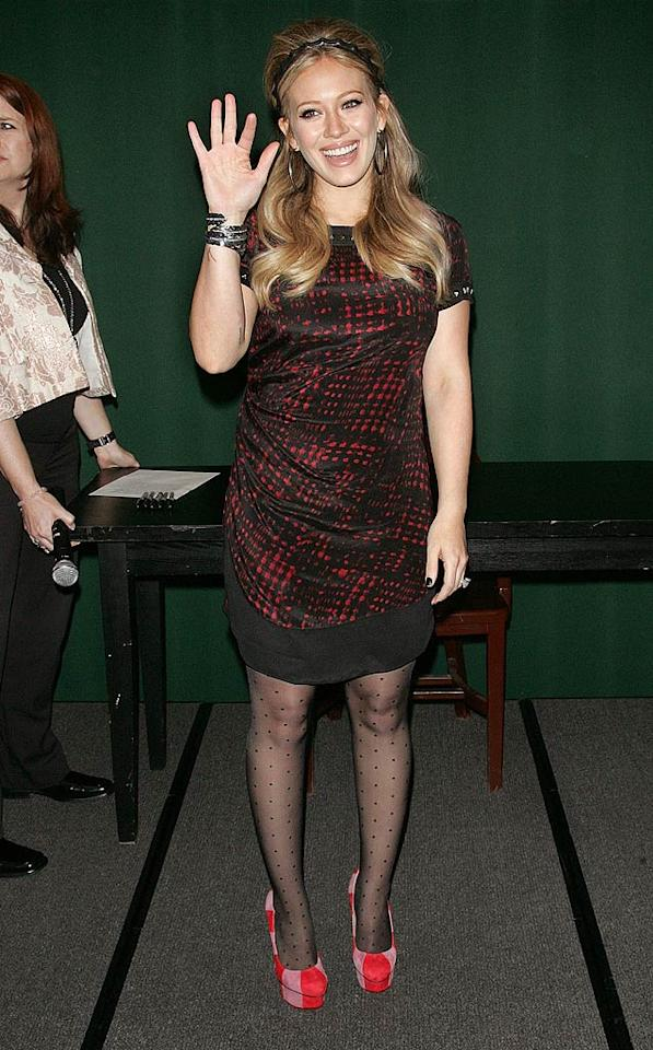 While in NYC promoting her book Devoted, mom-to-be Hilary Duff proved that she's devoted to donning disastrous accoutrement.  Jim Spellman/WireImage.com - October 10, 2011