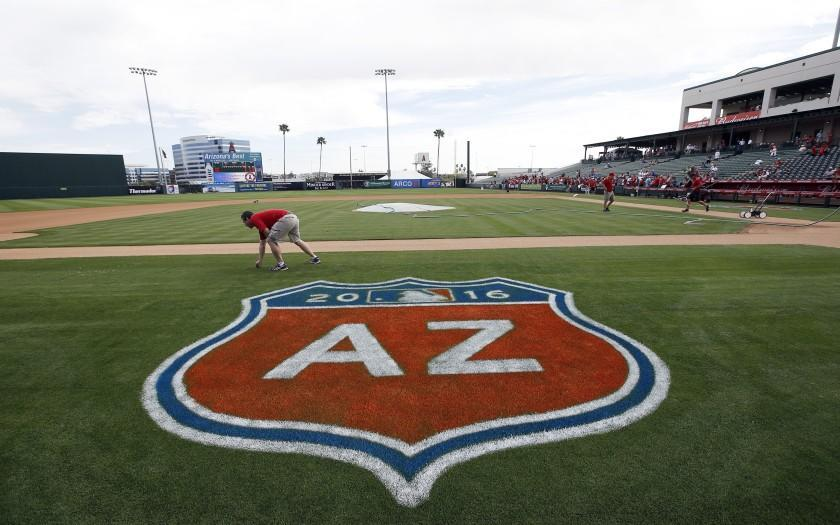 Temple Diablo Stadium before a spring training baseball game between the Los Angeles Angels and the Kansas City Royals Sunday, March 6, 2016, in Tempe, Ariz. (AP Photo/Morry Gash)