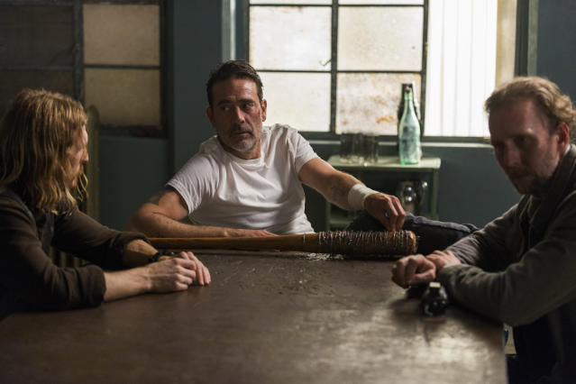 <p>Jayson Warner Smith as Gavin, Austin Amelio as Dwight, and Jeffrey Dean Morgan as Negan in AMC's <i>The Walking Dead.><br> (Photo: Gene Page/AMC)</i> </p>