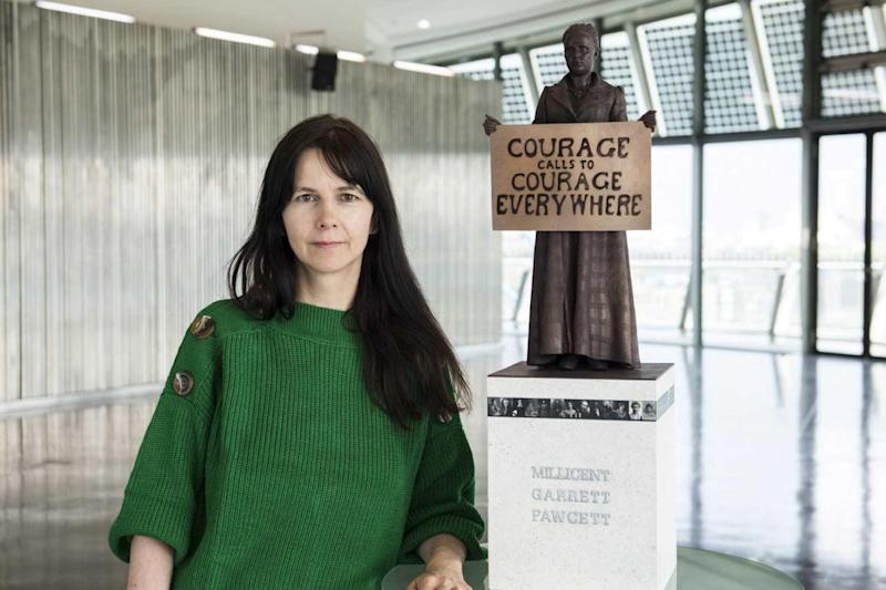 Designer Gillian Wearing with a model of the statue