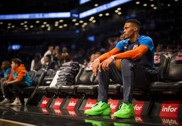 Russell Westbrook keeps giving away his sneakers after Thunder games. (Getty Images)