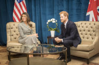Prince Harry during a Bilateral meeting with First Lady of the United States Melania Trump at the Sheraton ahead of the start of the 2017 Invictus Games in Toronto, Canada.