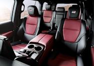 <p>Land Cruiser GR Sport models feature a black and red interior along with faux carbon trim and GR Sport logos in the headrests and on the steering wheel. </p>