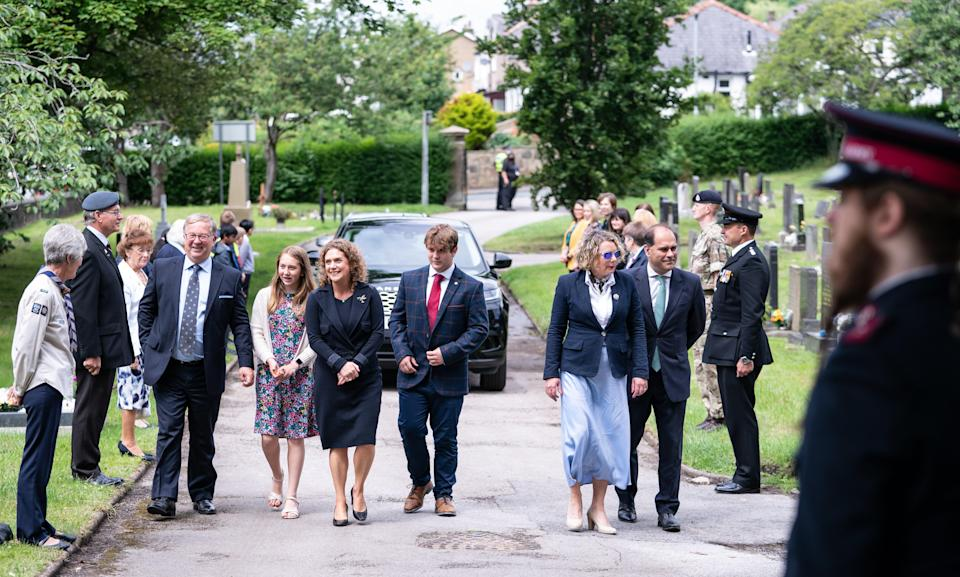 Relatives of Captain Sir Tom Moore arriving for the ceremony (PA Wire)