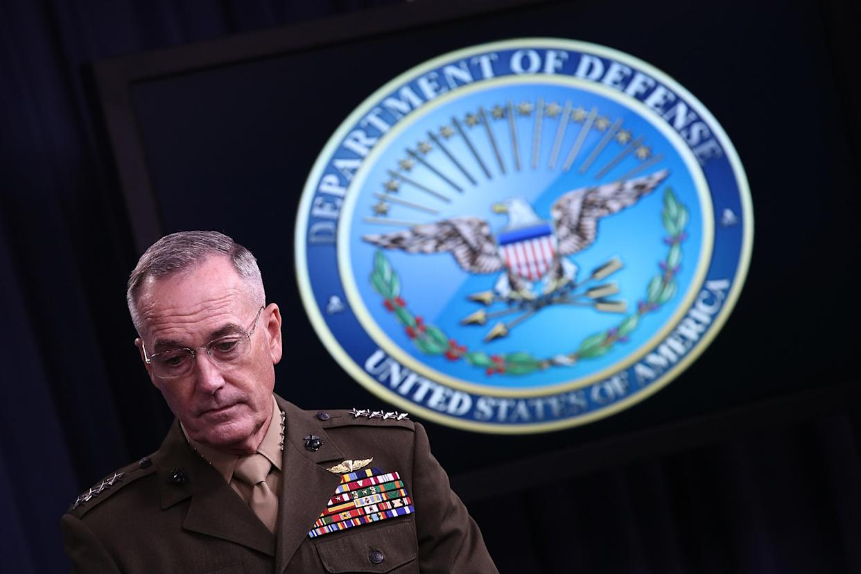 Chairman of the Joint Chiefs of Staff Marine Gen. Joseph Dunford Jr. during a Pentagon briefing, May 19, 2017. (Photo: Win McNamee/Getty Images)