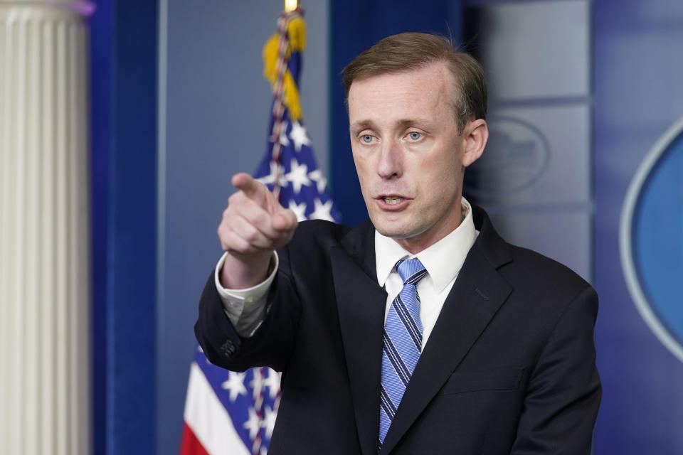 White House national security adviser Jake Sullivan speaks during the daily briefing at the White House in Washington, Monday, Aug. 23, 2021. (AP Photo/Susan Walsh)