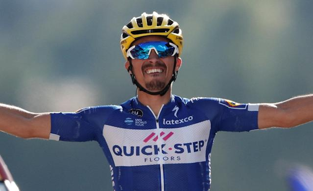 Cycling - Tour de France - The 158.5-km Stage 10 from Annecy to Le Grand-Bornand - July 17, 2018 - Quick-Step Floors rider Julian Alaphilippe of France wins the stage. REUTERS/Benoit Tessier