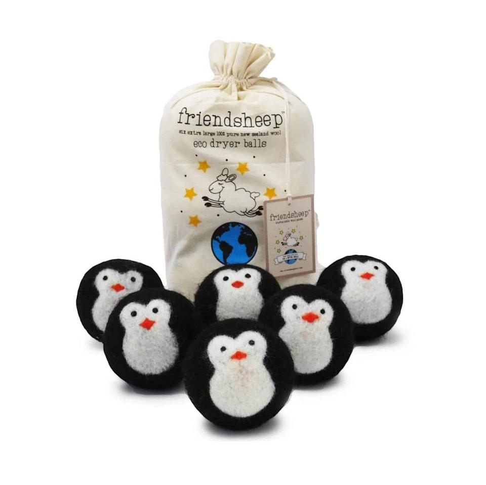 "Not only will these hand-embroidered dryer balls help them reduce single-use sheets, but they also last over 1,000 wash cycles—and are downright adorable. $28, Friendsheep. <a href=""https://www.friendsheepwool.com/collections/eco-dryer-balls/products/cool-friends-eco-dryer-balls"" rel=""nofollow noopener"" target=""_blank"" data-ylk=""slk:Get it now!"" class=""link rapid-noclick-resp"">Get it now!</a>"