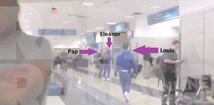 A pap is seen thrusting his camera in Eleanor's face [RADAR ONLINE]