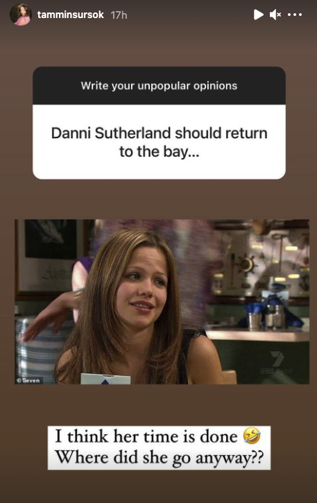Tammin asked fans to share their unpopular opinions on her Instagram Stories when one person said they thought Dani