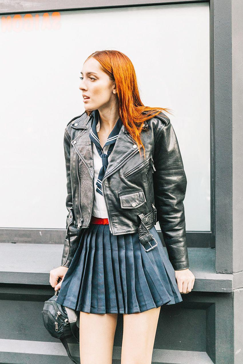 Toughen up a flirty skirt with a cropped moto jacket.