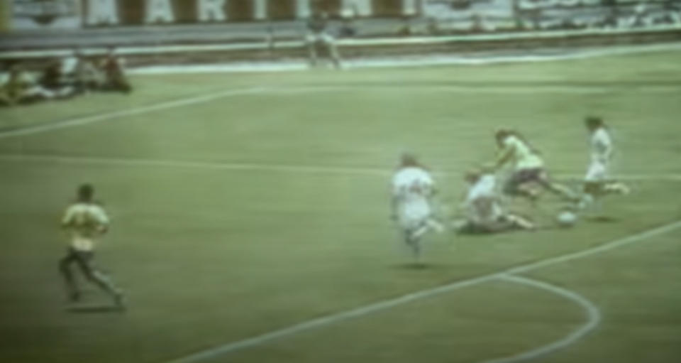 Bobby Moore's infamous tackle on Brazil's Jairzinho at the 1970 World Cup (YouTube)
