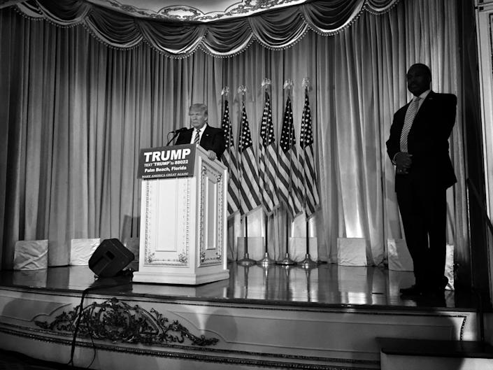 <p>Donald Trump takes questions from the press after receiving the endorsement of Ben Carson on March 11 at the Mar-a-Lago Beach Club, in Palm Beach, Fla. (Photo: Holly Bailey/Yahoo News) </p>