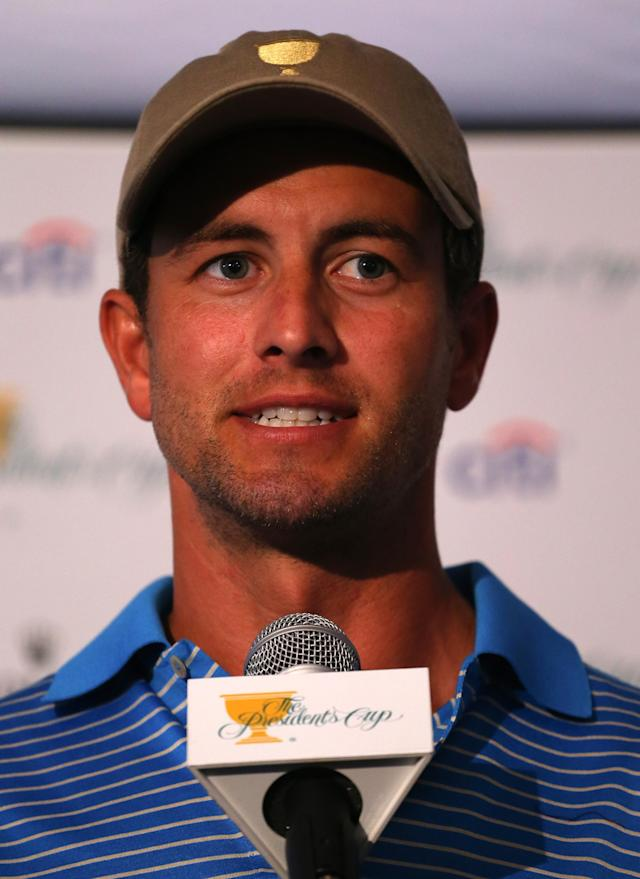 DUBLIN, OH - OCTOBER 02: Adam Scott of Australia and the International Team speaks with the media during a practice round prior to the start of The Presidents Cup at the Muirfield Village Golf Club on October 2, 2013 in Dublin, Ohio. (Photo by Andy Lyons/Getty Images)
