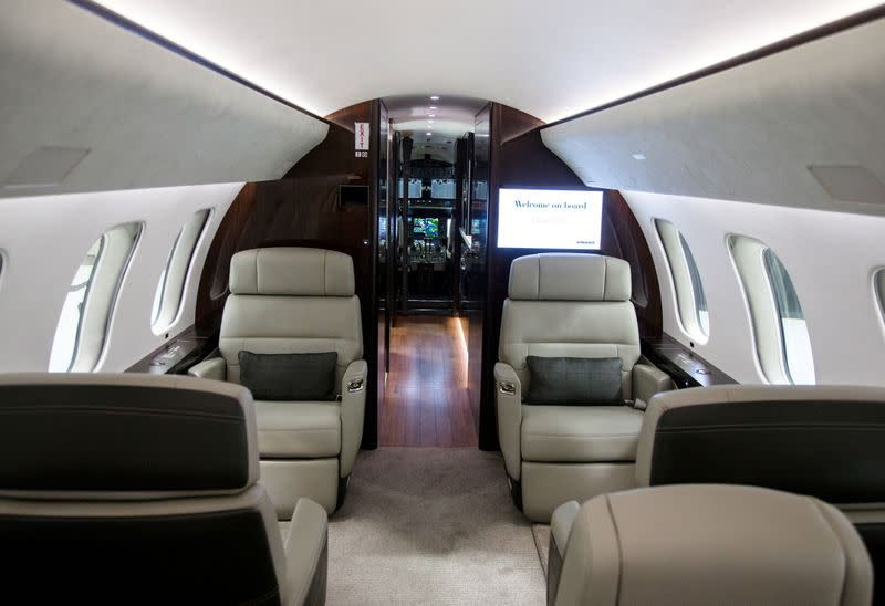 FILE PHOTO: An interior view of Bombardier's Global 7500, the first business jet to have a queen-sized bed and hot shower, is shown during a media tour in Montreal