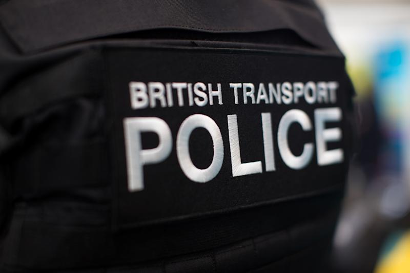 A British Transport Police badge on display during the Emergency Services Show, a two day trade event held at the National Exhibition Centre in Birmingham.