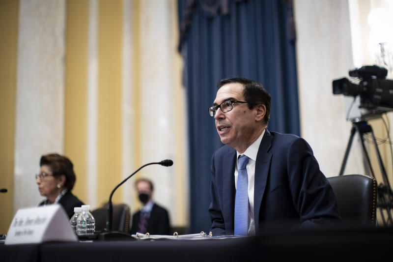 Treasury Secretary Steven Mnuchin speaks during a Senate Small Business and Entrepreneurship hearing to examine implementation of Title I of the CARES Act, Wednesday, June 10, 2020 on Capitol Hill in Washington. (Al Drago/Pool via AP)