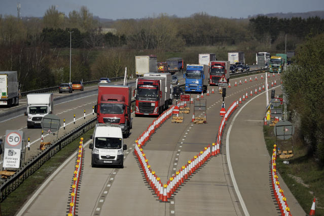 The M20 contraflow was designed to manage queues of trucks heading to Europe, via ferries or the Eurotunnel to France, in the event of a no-deal Brexit (AP)