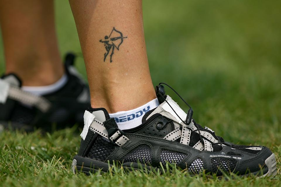 A detail of a tattoo of an archer on the lower leg of Natalia Valeeva of Italy during competition in the women's individual ranking round held at the Olympic Green Archery Field during Day 1 of the Beijing 2008 Olympic Games. (Photo by Paul Gilham/Getty Images)
