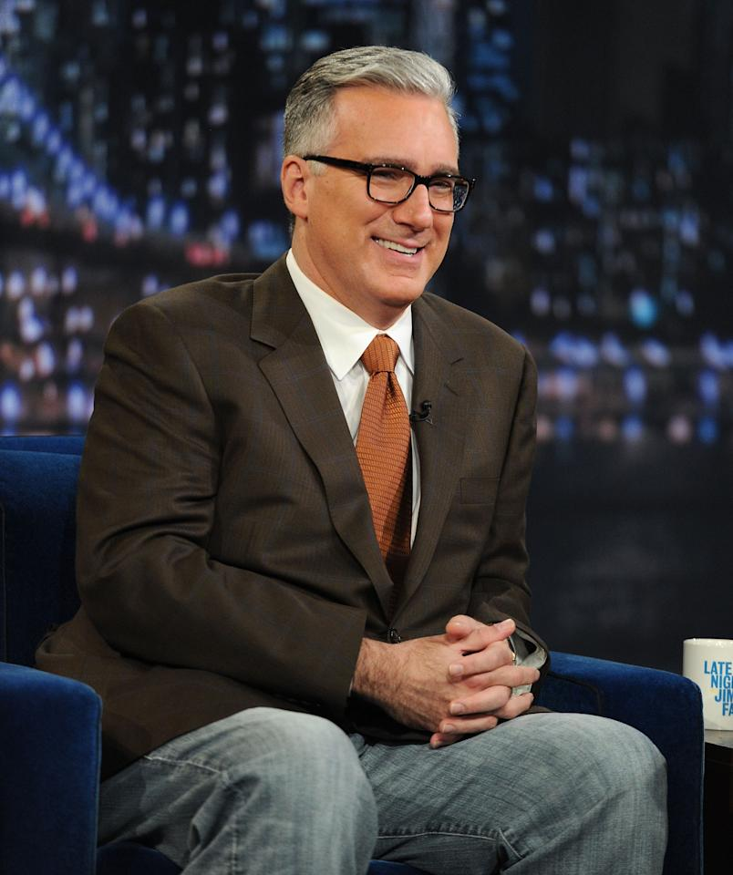 """NEW YORK, NY - JUNE 16:  Television personality Keith Olbermann visits """"Late Night With Jimmy Fallon"""" at Rockefeller Center on June 16, 2011 in New York City.  (Photo by Jason Kempin/Getty Images)"""