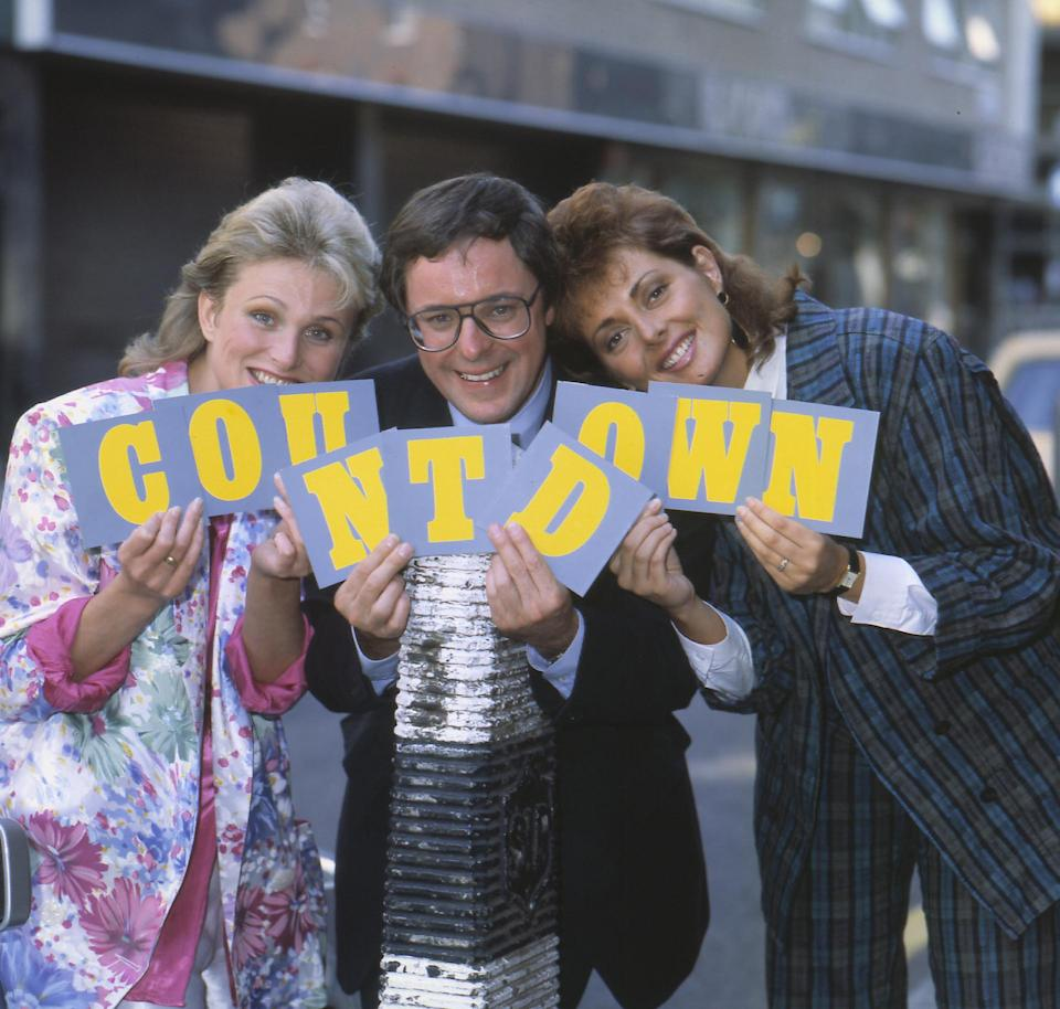 CATHY HYTNER; RICHARD WHITELY and CAROL VORDERMAN Left To Right: Presenters of the Channel 4 TV game show 'Countdown', 01.10.1985. (Photo by Photoshot/Getty Images)