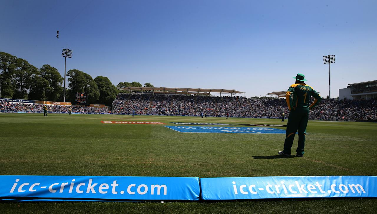 A general view Sophia Gardens in the sun during the ICC Champions Trophy match.