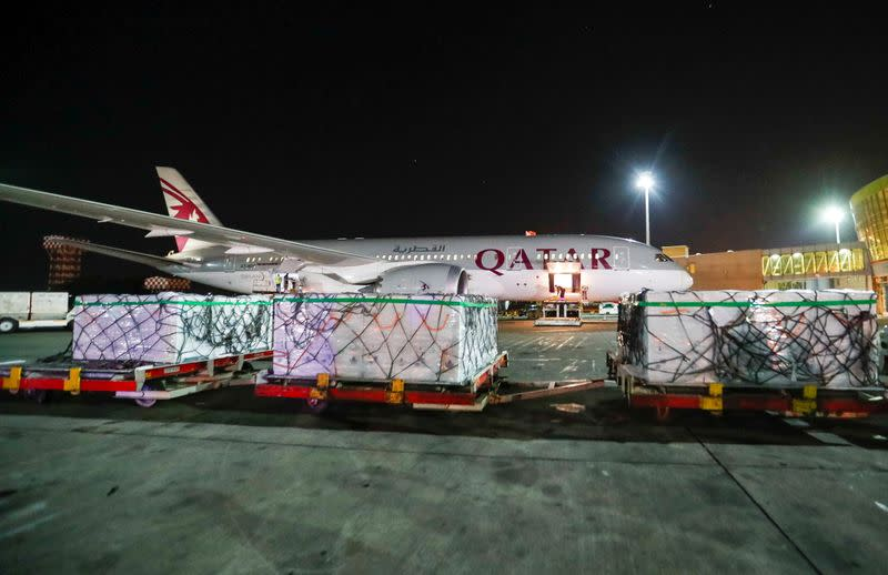 The first batch of AstraZeneca/Oxford vaccines against the coronavirus disease (COVID-19) are seen wrapped at the Jomo Kenyatta international airport in Nairobi