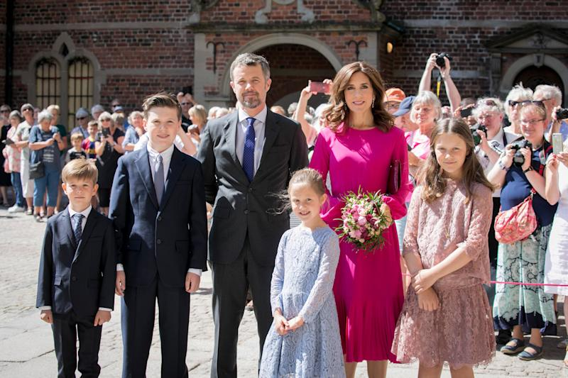 Princess Mary and Prince Frederik during the unveiling of a portrait of Crown Prince Frederik by Australian painter Ralph Heimans at Frederiksborg Palace on May 24, 2018 in Hillerod, Denmark. The exhibitions 'Ralph Heinmans Portraits' and 'HRH Crown Price Frederik - Prince of Denamrk' both open on the occasion of the 50th birthday of The Crown Prince Frederik of Denmark.