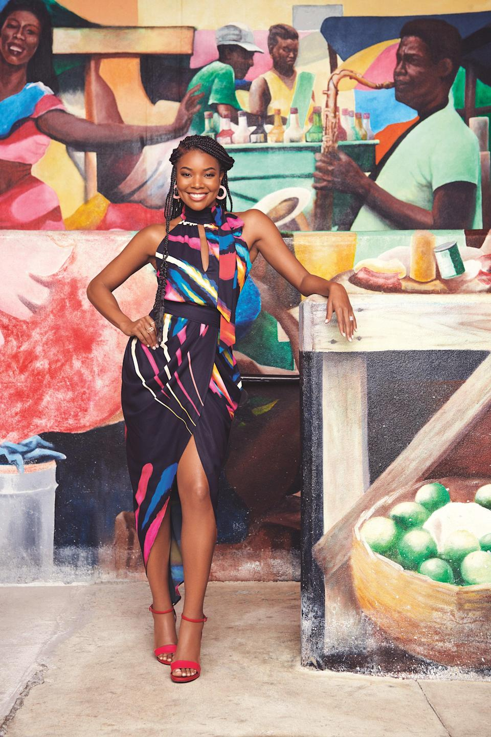 """<br> <br> <strong>New York & Company x Gabrielle Union</strong> Print Halter Top, $, available at <a href=""""https://go.skimresources.com/?id=30283X879131&url=https%3A%2F%2Fwww.nyandcompany.com%2Fprint-halter-top-gabrielle-union-collection%2FA-prod20620045%2F%3FAn%3D675084437%26prodNo%3D10"""" rel=""""nofollow noopener"""" target=""""_blank"""" data-ylk=""""slk:New York & Company"""" class=""""link rapid-noclick-resp"""">New York & Company</a> <br> <br> <strong>New York & Company x Gabrielle Union</strong> Print Tie Waist Skirt, $, available at <a href=""""https://go.skimresources.com/?id=30283X879131&url=https%3A%2F%2Fwww.nyandcompany.com%2Fprint-tie-waist-skirt-gabrielle-union-collection%2FA-prod20620053%2F%3FAn%3D675084437%26prodNo%3D0"""" rel=""""nofollow noopener"""" target=""""_blank"""" data-ylk=""""slk:New York & Company"""" class=""""link rapid-noclick-resp"""">New York & Company</a> <span class=""""copyright"""">Photographed by Nino Muñoz.</span>"""