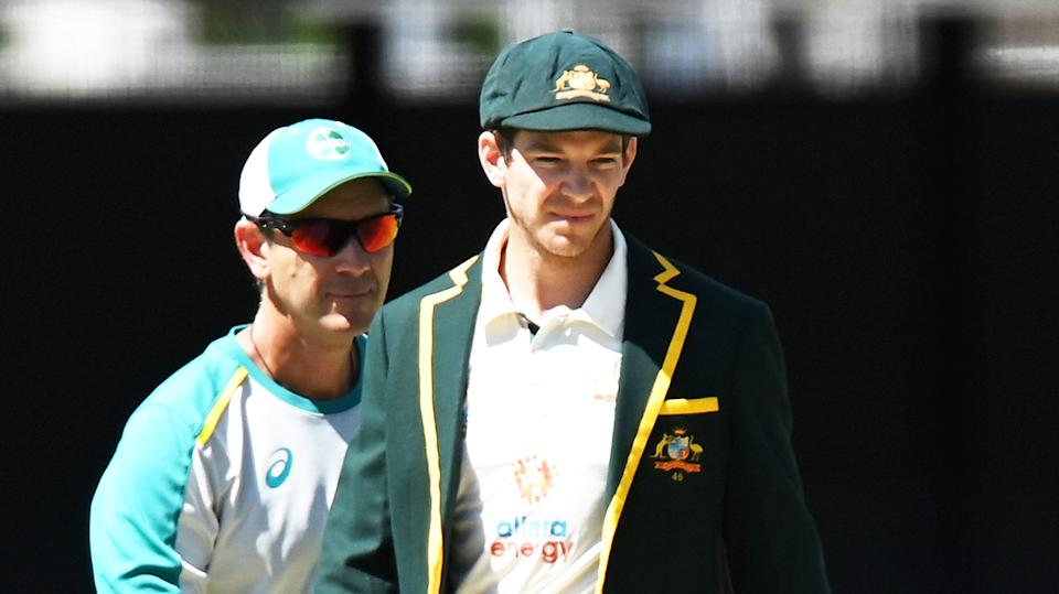 Tim Paine (pictured right) with coach Justin Langer (pictured left) ahead of the fourth Test.