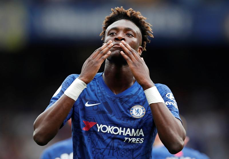 "Soccer Football - Premier League - Chelsea v Sheffield United - Stamford Bridge, London, Britain - August 31, 2019 Chelsea's Tammy Abraham celebrates scoring their second goal Action Images via Reuters/Paul Childs EDITORIAL USE ONLY. No use with unauthorized audio, video, data, fixture lists, club/league logos or ""live"" services. Online in-match use limited to 75 images, no video emulation. No use in betting, games or single club/league/player publications. Please contact your account representative for further details."