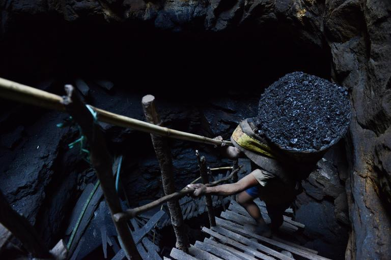 A miner carries a heavy load of wet coal up on wooden slats that brace the sides of a deep coal mine shaft, near Rymbay village, in the Indian northeastern state of Meghalaya, on January 31, 2013