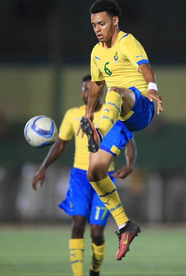 Gabon's Johann Obiang on the ball during the African Cup of Nations qualifier against Sudan (AFP Photo/)
