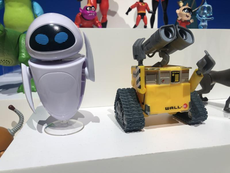 Mattel's versions of EVE and Wall-E from the Pixar classic 'Wall-E' (Photo: Ethan Alter)