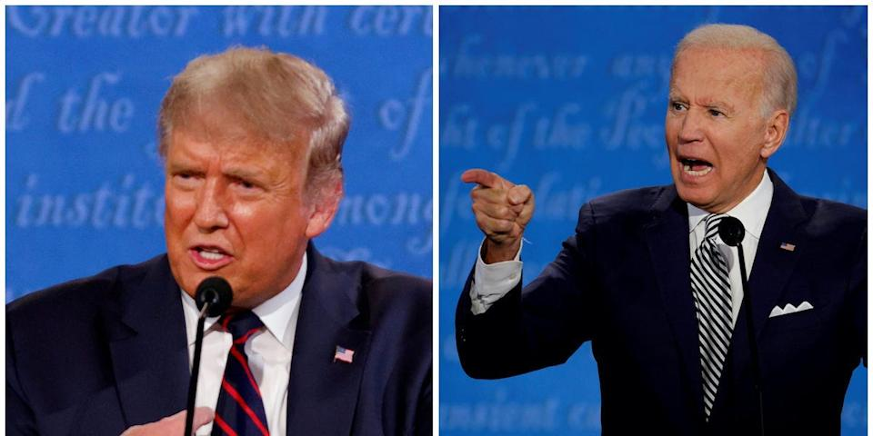 A combination picture shows U.S. President Donald Trump and Democratic presidential nominee Joe Biden speaking during the first 2020 presidential campaign debate, held on the campus of the Cleveland Clinic at Case Western Reserve University in Cleveland, Ohio, U.S., September 29, 2020.