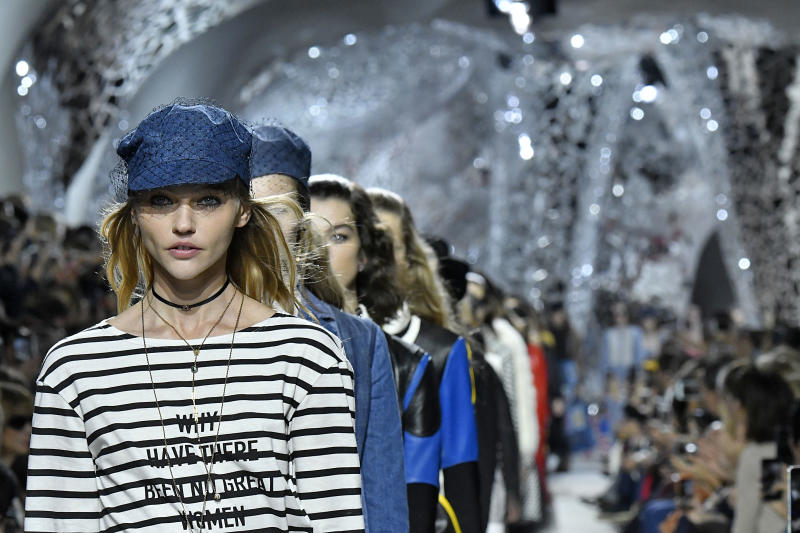 Pivovarova in Dior's newest feminist T-shirt.  (Victor VIRGILE via Getty Images)