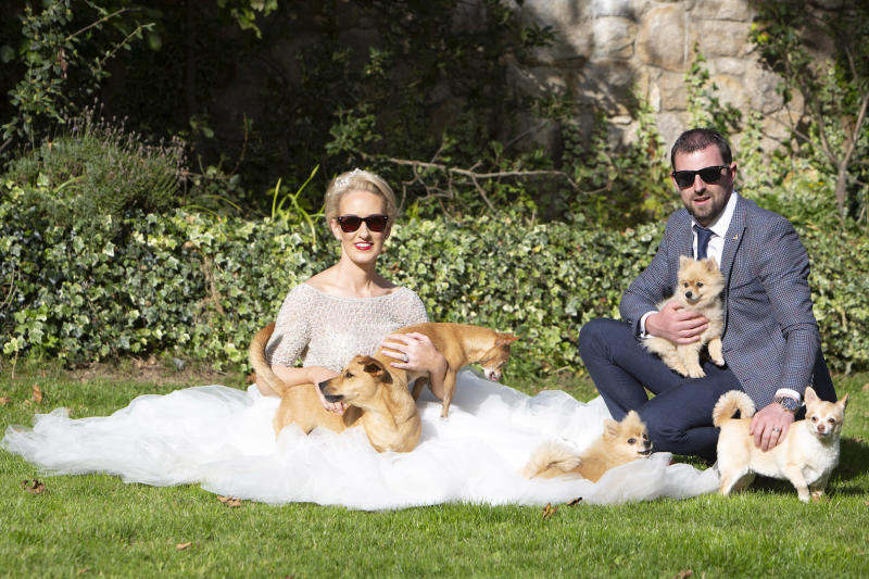 The bride and groom shared their big day with eight of their rescue dogs [Photo: Caters]
